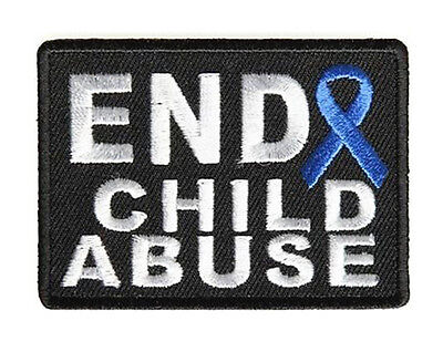 END CHILD ABUSE BLUE RIBBON IRON ON AWARENESS  PATCH Child Abuse Blue Ribbons