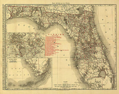 US CONFEDERATE STATES 1862 FL MAP Neptune Beach New Port Richey Smyrna Niceville