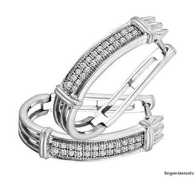 Diamond Huggie Hoop Earrings .15-cts fashion white 925 sterling Fashionable Diamond Huggie Earrings