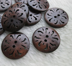40x-Pierced-flower-Wood-Buttons-30mm-Sewing-Craft-F345