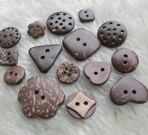 E368-Nutral-Coconut-Buttons-craft-sewing-baby-doll-button-Lots-Mix-style-U-pick