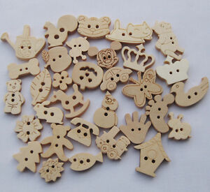 500-100pc-Upick-Cartoon-animal-wood-buttons-sewing-appliques-Kids-DIY-Lots-F649