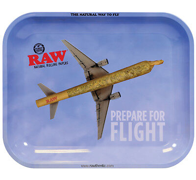 """New RAW Rolling TRAY LARGE 13.5"""" X 11"""" Natural Way to Fly - Prepare For Flight"""