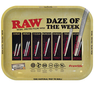 """RAW Papers """"DAZE OF THE WEEK"""" Metal Rolling Tray featuring cones LARGE 13""""x11"""""""