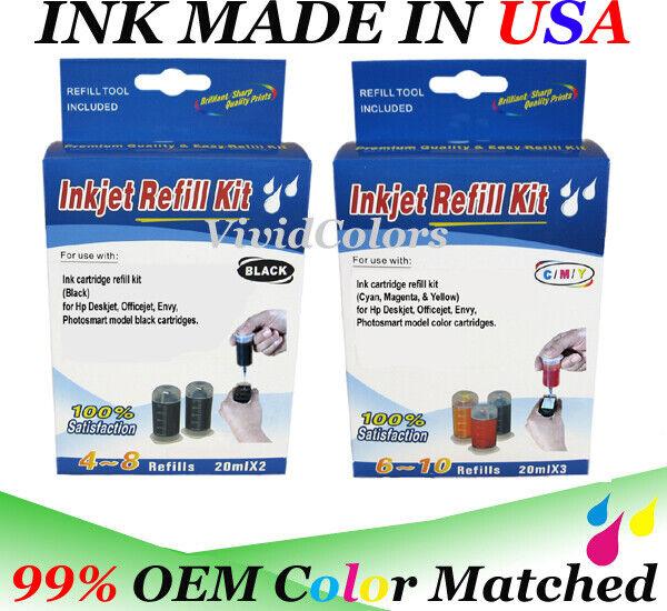 Cartridge refill ink kit for HP 67 67xl 62 64 65 65XL cartridges black, color