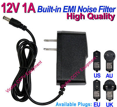 High Quality DC 12V 1A Power Supply Adapter w/ Noise Filter CCTV Security Camera