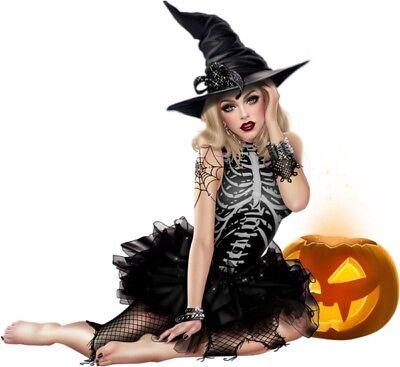"4"" Sexy Witch Halloween Party Decoration DIY Hot Girl Hat Pumpkin Bumper Sticker - Diy Halloween Hats"