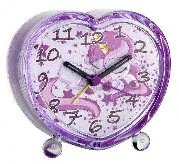 Kinderwecker EINHORN leises Uhrwerk geräuschlos Hintergrund Beleuchtung Timer