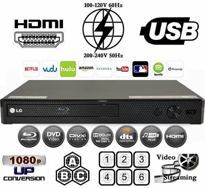 LG BP25 Region Free Blu-Ray Player & DVD for WorldWide Use, USB, HDMI, CODEFREE