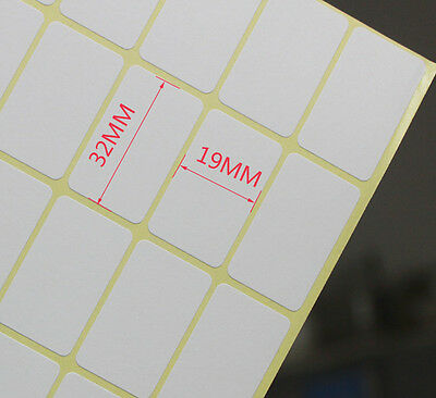 15 Sheets Paper Sticker Labels Rectangle White Blank Self Adhesive Label 19x32mm