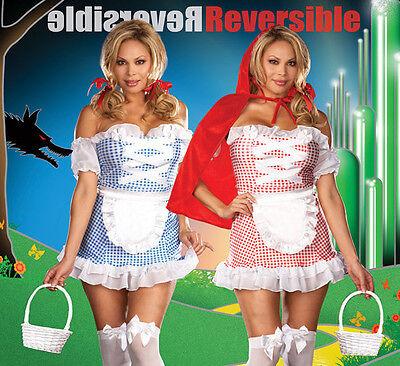 Sexy 10 Teile Doppelseitig Kleine Rote & Dorothy Kostüm Whiz oz Plus (Sexy Dorothy Kostüme)