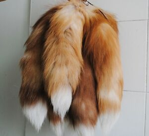 1pc New Genuine Fox Tail Keychain Fur Tassel Bag Tag Charm (35-45cm) FJ001