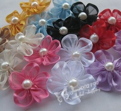 30pcs Upick Ribbon Flowers W/pearl Appliques Craft DIY Wedding Hair Decorat - Diy Ribbon Flowers