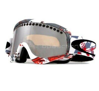 Oakley 57-042 O Frame Red White Shattered Black Iridium Lens Ski Snow Goggles .