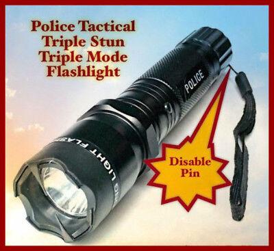 Police Style Metal Stun Gun w/ DISABLE PIN 990 MV 4.5 MIllamps LED Flashlight