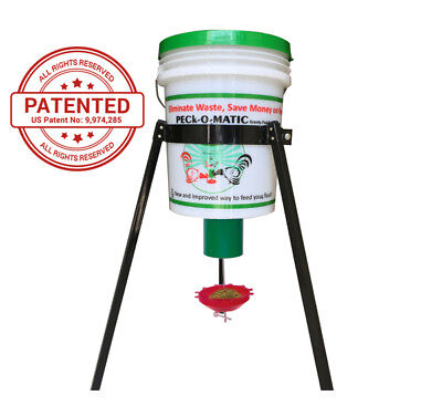 Lot of 4 Pail/Bucket with Peckomatic Demand Bird Feeder Kit & Tripod Pail Stand