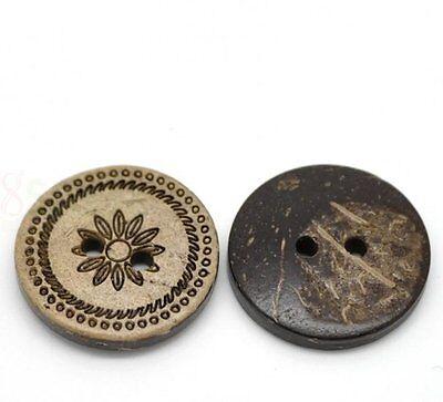 5 Stück  Knöpfe Kokosnuss 18mm K302.5 Trachtenknopf Blume