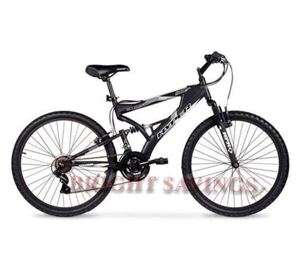 Men's Mountain Bike Black Aluminum Frame Bicycle Shimano 26 Full Suspension