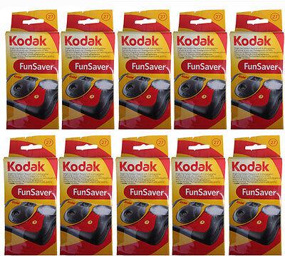 10 Kodak FunSaver Flash 27 Exp Single Use Disposable 35mm Camera 8/2019