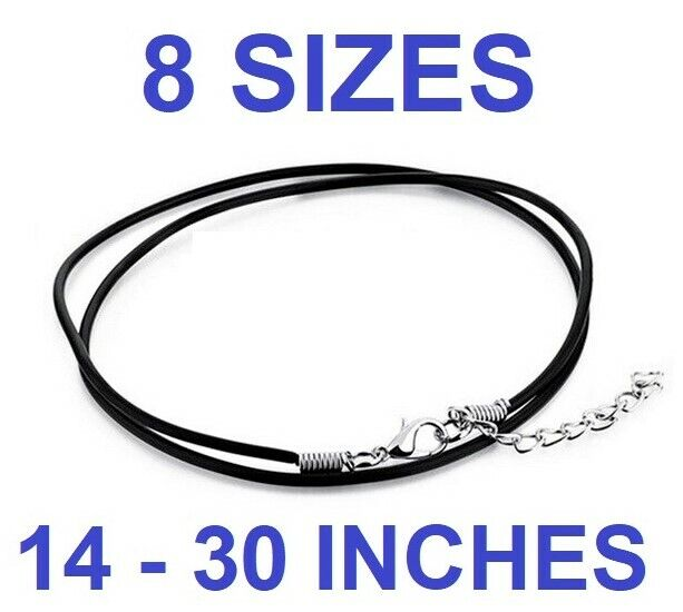 BLACK REAL LEATHER NECKLACE with lobster clasp cord string 2mm 12