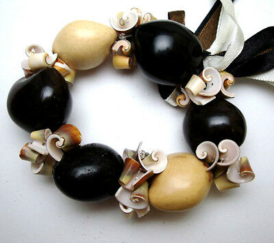 Hawaii Wedding / Graduation Kukui Nut Luau Hula Jewelry Bracelet~#24045 (QTY 2)