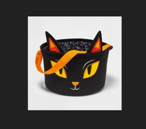 Hyde and EEK Fabric Halloween Cat Candy Bowl Basket Target Black Kitty NWT