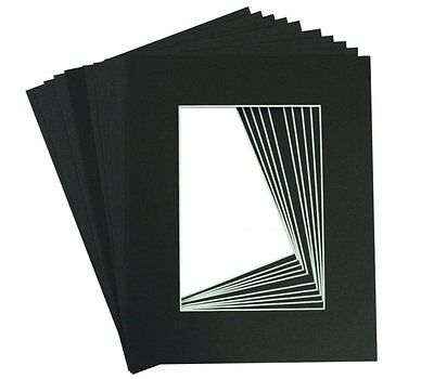 Set of 10 BLACK 8x10 Picture Mat Matting with White Core Bevel Cut for 5x7 Photo