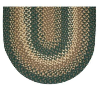 HUNTER GREEN BASKET WEAVE BRAIDED AREA RUGS By COLONIAL RUG--MANY -