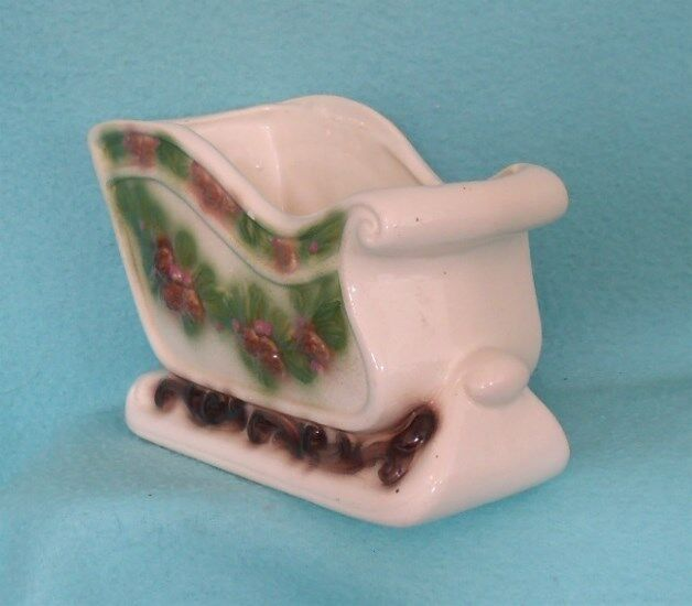 Vintage Mid Century Ceramic Christmas Sleigh with Pine Cones and Pine