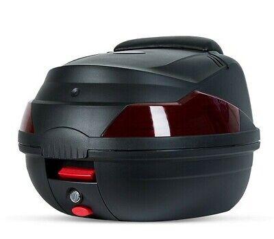 Maletero maleta grande para motos electricas con reflectores de seguridad negra