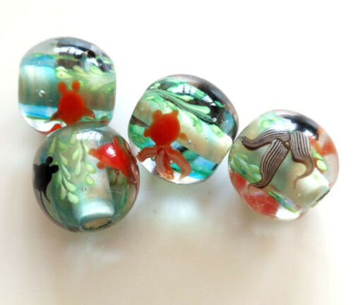 10pcs exquisite handmade Lampwork glass beads goldfish fish flower 16mm