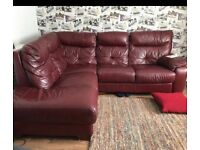 Maroon corner leather sofa can deliver