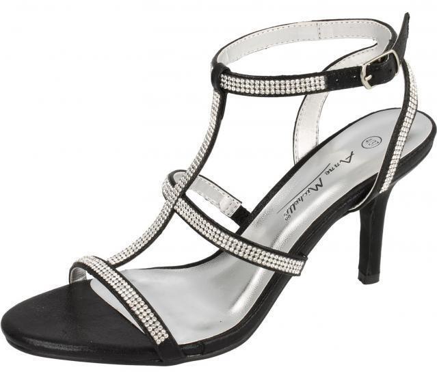 как выглядит Ladies Black DIAMANTE Slingback Sandals F10300 WEDDING/PARTYS Anne Michelle фото