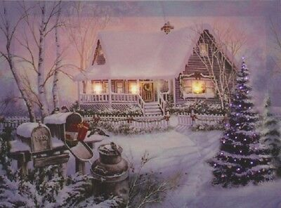 Snow Covered House Photo on Canvas with Led Lights Wall Art Christmas Decor