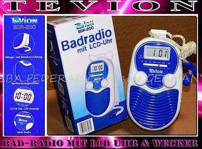 Tevion BDR200 Badradio LCD Display Wand Dusch Radio Wasserfest Uhr Blau Weis K2