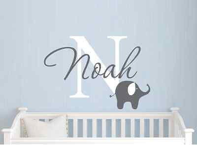 Nursery Wall Decal Baby Decor Art Personalized Name & Color Elephant Vinyl Room