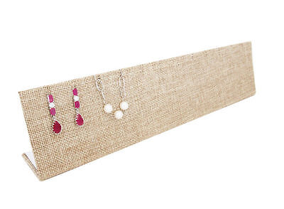 """New12""""x1 3/4""""x2 3/4"""" Beige Burlap Earrings and Necklace L-Shaped Jewelry Display"""