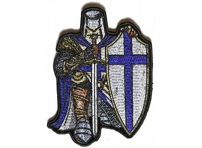 G22  Blue Crusader Knight 3 25  X 4 5  Iron On Patch  4903  Fantasy