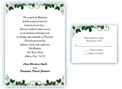 100 Personalized Custom Holly Christmas Winter Holiday Wedding Invitations Set