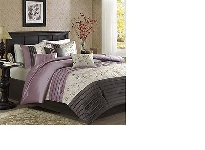Luxury Embroidery Purple Floral  7-Piece-Comforter-Set-Bed-i