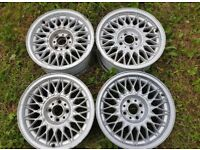 "Bmw e30 325i sport 15"" bbs genuine alloy wheels 7j x4 318i 320i 4x100"