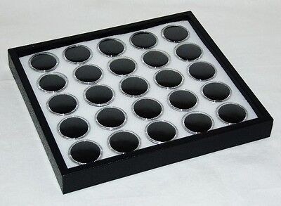 Gem Tray Stackable 25 Space White Foamblack Tray Black Jars