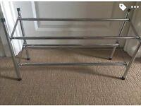 Two tier metal shoe rack
