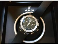 MENS HUBLOT BIG BANG BLACK AND SILVER NEW WITH BOX & PAPERS