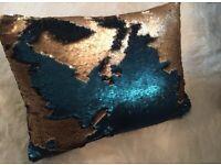 Sequin Gold Teel Cushion