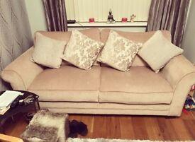 Large 3 seater sofa & fur Footstool