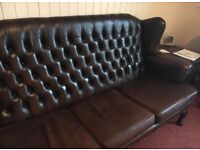High Back Dark Brown Chesterfield Sofa 3 seater