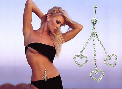 Crystal Love Heart Dangle Navel Piercing Barbell Ring Belly Ring Women Fashion Crystal Heart Dangle Belly Ring