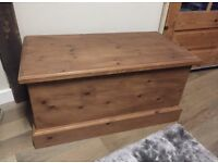 Beautiful solid pine refurbished matching trunk/coffee table!