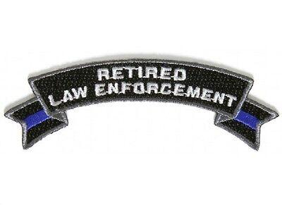 "RETIRED LAW ENFORCEMENT 4"" x 1.5"" iron on Rocker patch (5489) Blue Line (D22)"